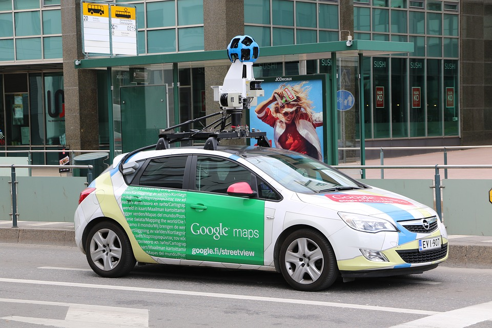 Google Maps Vehicle Stock Photo.