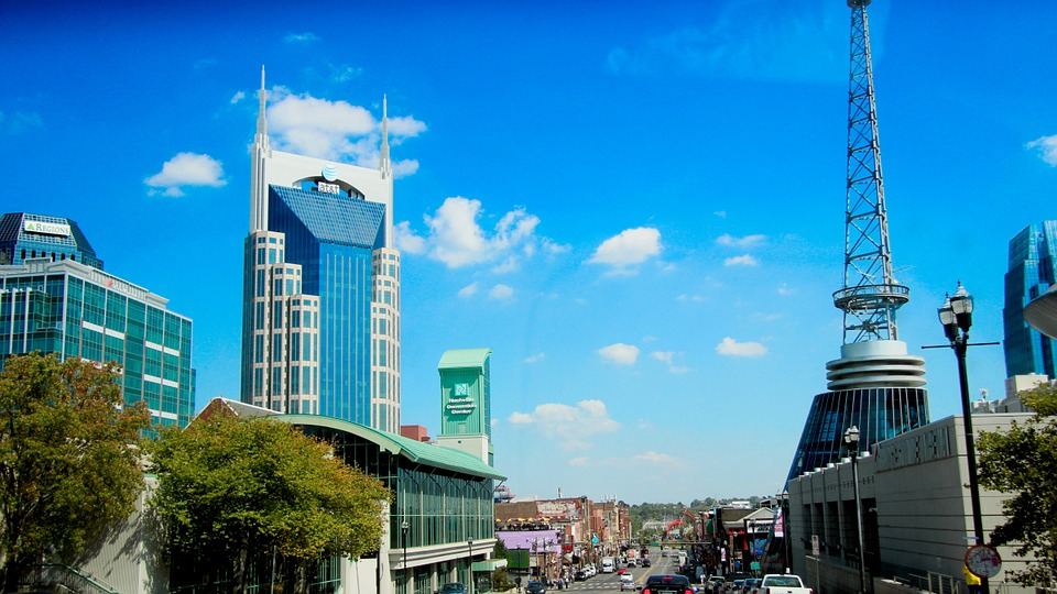 Stock photo of Nashville, Tennessee's downtown skyline.