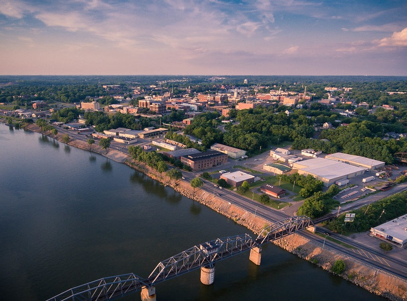 Downtown Clarksville Tennessee Aerial Photo